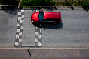 Sweden, Goteborg, Elevated view of car on road with speed buの写真素材 [FYI02699876]