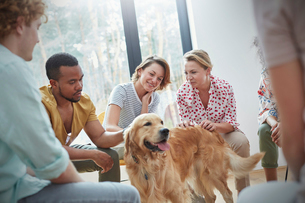 People petting dog in group therapy sessionの写真素材 [FYI02700423]