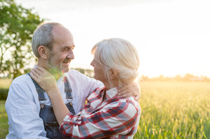 Affectionate senior couple hugging in sunny rural wheat fieldの写真素材 [FYI02700717]