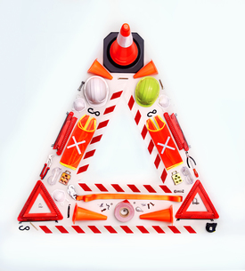 Still life concept construction equipment forming hazard triangleの写真素材 [FYI02700812]