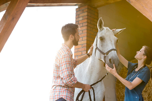 Couple petting horse in rural stableの写真素材 [FYI02701173]