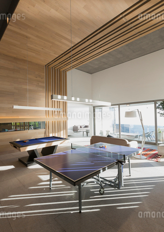 Pool table and ping pong table in modern, luxury home showcase interior game roomの写真素材 [FYI02701308]