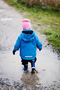 Sweden, Bohuslan, Tjorn, Rear view of girl (4-5) walking thrの写真素材 [FYI02701355]
