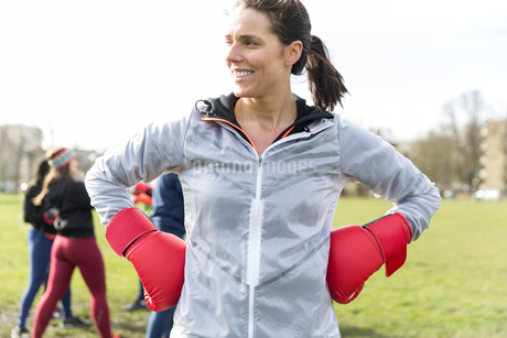 Portrait confident woman boxing in parkの写真素材 [FYI02702801]