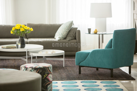 Home showcase living room with rose bouquetの写真素材 [FYI02702897]