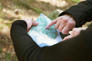 Sweden, Skane, Soderasen, Hand pointing at map in national parkの写真素材 [FYI02703687]