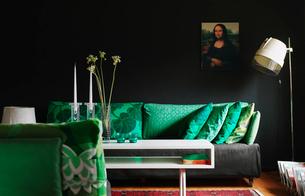 Sweden, Smaland, Almhult, Bavervagen, Design of modern living roomの写真素材 [FYI02703815]