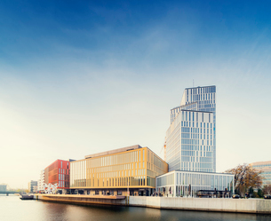 Sweden, Oresund Region, Skane, Malmo, Bagers plats, Malmo Live concert hall on sunny dayの写真素材 [FYI02703852]