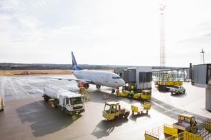 Sweden, Medelpad, Sundsvall, Airplane on runwayの写真素材 [FYI02703890]