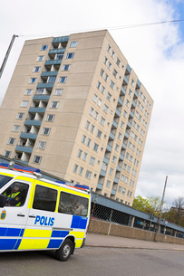 Sweden, Smaland, Jonkoping, Police car on streetの写真素材 [FYI02704185]