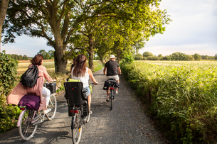 Sweden, Blekinge, Solvesborg, Rear view of man and women riding bicycles on country roadの写真素材 [FYI02704228]