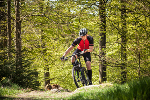 Sweden, Blekinge, Solvesborg, Ryssberget, Mature man riding on mountain bike through forestの写真素材 [FYI02704292]