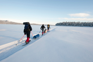 Sweden, Lappland, Jokkmokk, Three men cross-country skiing across frozen lake in winterの写真素材 [FYI02704299]