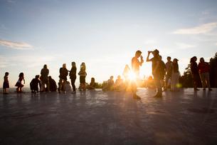 Sweden, Medelpad, Sundsvall, People at music festivalの写真素材 [FYI02704306]