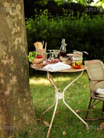 Sweden, Vastergotland, Bottle of syrup and pickled vegetables on tableの写真素材 [FYI02704599]