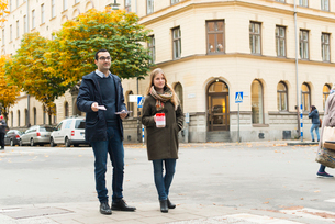 Sweden, Sodermanland, Stockholm, Sodermalm, Charity volunteers on streetの写真素材 [FYI02704613]
