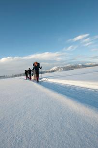 Sweden, Lappland, Jokkmokk, Three men walking in snowの写真素材 [FYI02704630]