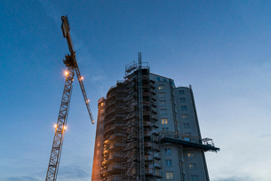Sweden, Sodermanland, Nykoping, Construction against clear skyの写真素材 [FYI02704765]