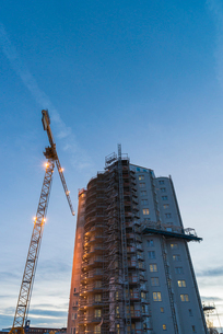 Sweden, Sodermanland, Nykoping, Construction site against clear skyの写真素材 [FYI02704778]