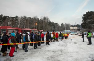 Sweden, Uppland, Upplands Vasby, Volunteers of Missing people organization getting instructionsの写真素材 [FYI02704811]