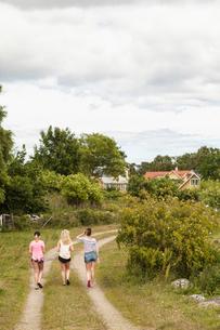 Sweden, Blekinge, Solvesbor, Torso, Teenage girls (14-15) walking on footpathの写真素材 [FYI02704835]