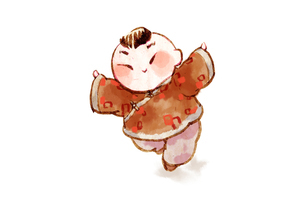 Boy with Chinese traditional clothingのイラスト素材 [FYI02704870]