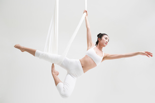 Young Chinese woman practicing aerial yogaの写真素材 [FYI02705081]