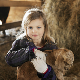A child in the animal shed holding stroking a baby goat.の写真素材 [FYI02705154]