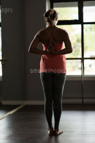 Rear view of woman practicing yogaの写真素材 [FYI02705290]