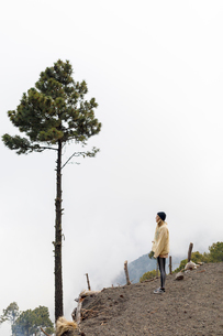 Man hiking mountain in Guatemalaの写真素材 [FYI02705476]