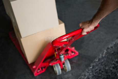 Cropped hand of worker pulling trolley in warehouseの写真素材 [FYI02705575]