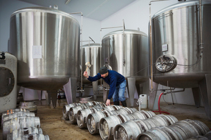 Man standing next to a row of metal beer kegs, filling them with beer from the fermentation tanks.の写真素材 [FYI02705824]