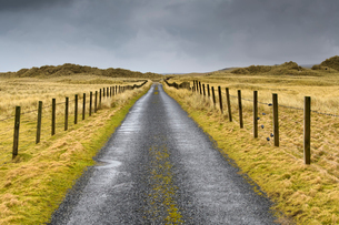 Rural road in Shetland, Scotlandの写真素材 [FYI02706088]