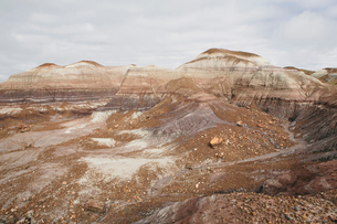Elevated view of the Painted Desert rock formations in the Petrified Forest National Parkの写真素材 [FYI02706110]