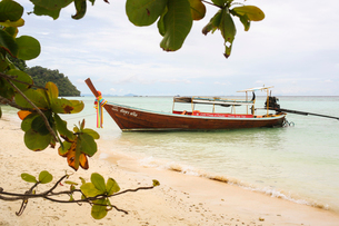 Boat on shore of beach in Ko Lanta, Thailandの写真素材 [FYI02706163]
