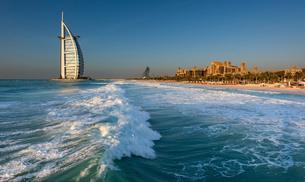 Cityscape of Dubai, United Arab Emirates, with the Burj Al Arab skyscraper on the coastline of the Pの写真素材 [FYI02706371]