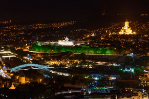 View across the city of Tbilisi city, Georgia at night.の写真素材 [FYI02706459]