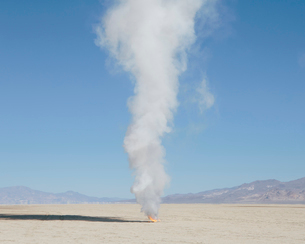 Smoke and flames from destroyed rocket, Black Rock Desert, Nevadaの写真素材 [FYI02706494]