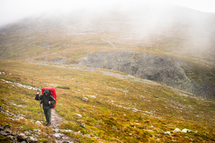 Man hiking up a hill at Pallas-Yllastunturi National Park in Lapland, Swedenの写真素材 [FYI02706513]