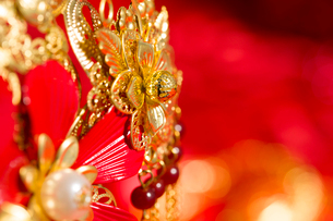 Traditional Chinese wedding elementsの写真素材 [FYI02706594]