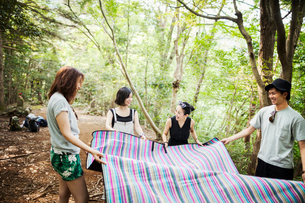 Three young women and man standing in a forest, holding a picnic rug.の写真素材 [FYI02706703]