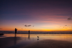 Person taking a photo of someone fishing on the beach at sunset in Broome, Australiaの写真素材 [FYI02706812]