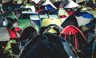 Tents on grass packed tightly together, pitched close together at an outdoor music festival in summeの写真素材 [FYI02706843]
