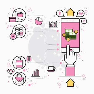 Illustration representing mobile bankingのイラスト素材 [FYI02706941]