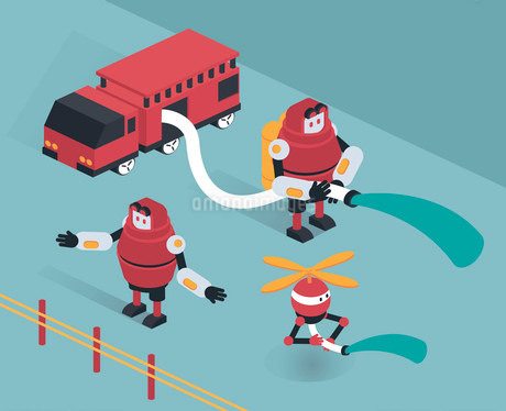 Robot firefightersのイラスト素材 [FYI02707000]