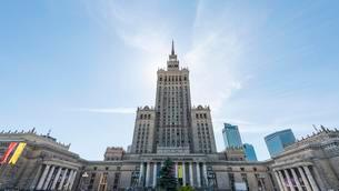 Palace of Culture, Science Palace and skyscrapers, skylineの写真素材 [FYI02707010]