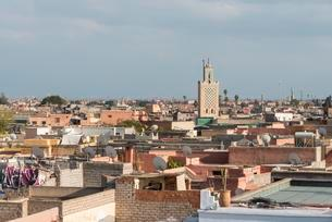 View of the old city, Ben Salah mosque with minaretの写真素材 [FYI02707018]