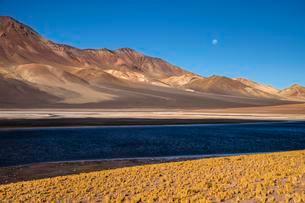 Andean Plain, Puna Grasland, lake and mountain range, theの写真素材 [FYI02707050]