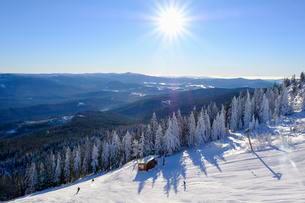 Ski slope, Big Arber, Bavarian Forest, Lower Bavariaの写真素材 [FYI02707054]