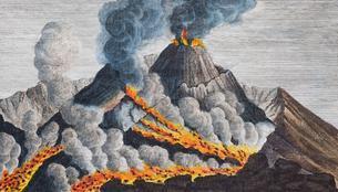Active volcano Vesuvius, hand-coloured copperplateのイラスト素材 [FYI02707116]